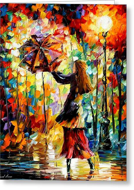 Rainy Mood 2 - Palette Knife Oil Painting On Canvas By Leonid Afremov Greeting Card by Leonid Afremov