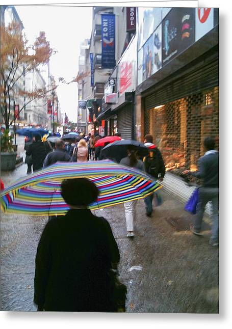 Rainy Morning 34th Street Greeting Card by Jon Woodhams