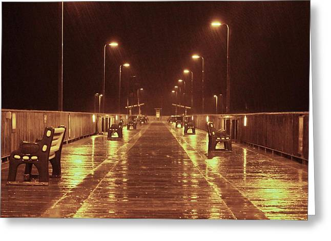 Rainy Night On The Pier Greeting Card