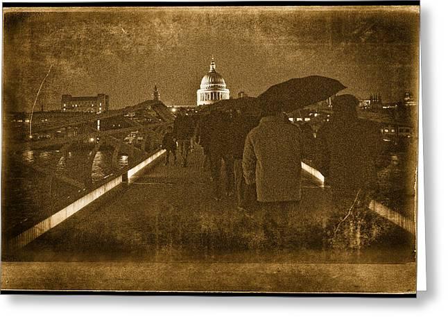 Rainy Night Greeting Card by Vessela Banzourkova
