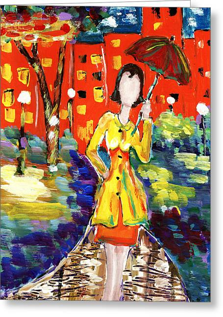 Rainy Nights Greeting Card by Peg Holmes