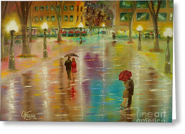 Greeting Card featuring the painting Rainy Reflections by Chris Fraser