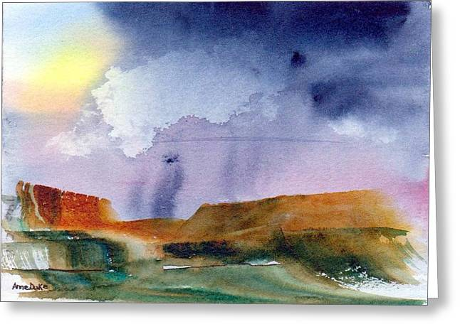 Greeting Card featuring the painting Rainy Skies by Anne Duke
