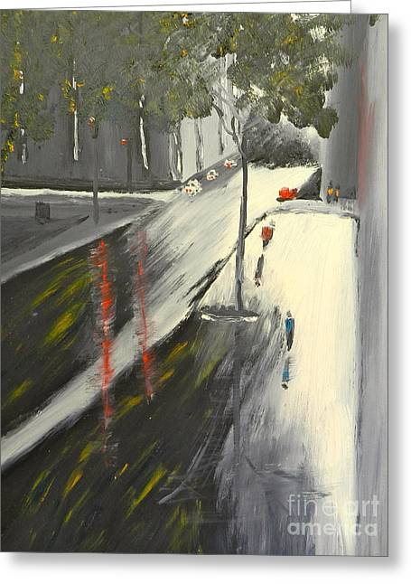 Greeting Card featuring the painting Rainy Street In Melbourne by Pamela  Meredith