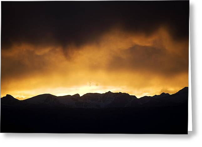 Rainy Sunset Over Rockies Greeting Card by Marilyn Hunt