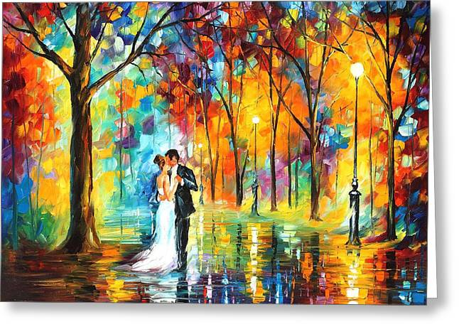 Rainy Wedding - Palette Knife Oil Painting On Canvas By Leonid Afremov Greeting Card by Leonid Afremov