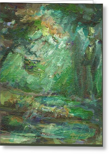Greeting Card featuring the painting Rainy Woods by Mary Wolf