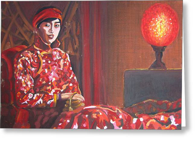 Raise The Red Lantern Greeting Card by Karen Coggeshall
