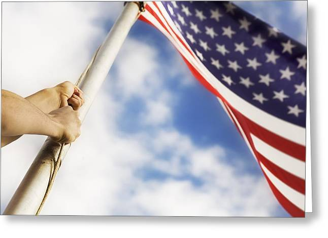 Raising An American Flag Greeting Card by Chris and Kate Knorr