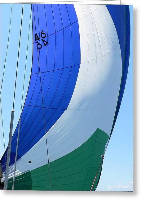 Raising The Blue And Green Sail Greeting Card