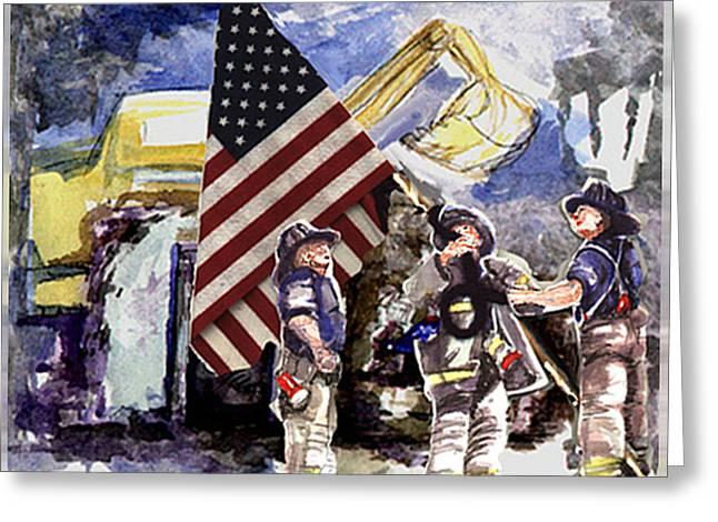 Raising The Flag At Ground Zero Greeting Card by Elle Smith Fagan
