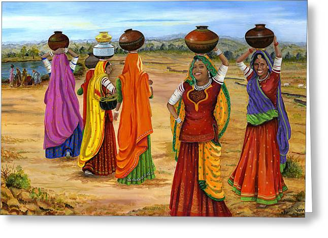 Rajasthani  Women Going Towards A Pond To Fetch Water Greeting Card