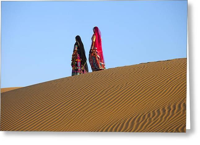 Rajasthani Women In Thar Desert Greeting Card