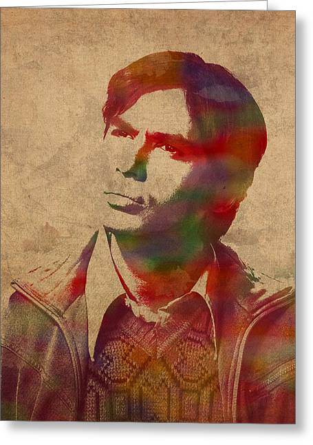 Rajesh Raj Koothrappali Big Bang Theory Watercolor Portrait On Distressed Worn Canvas Greeting Card by Design Turnpike
