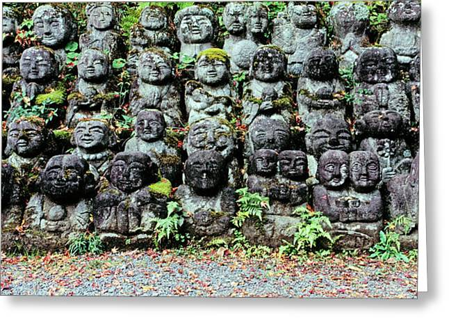 Rakan Sculptures At Otagi Nenbutsu-ji Greeting Card by Panoramic Images