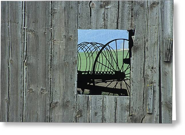Rake And Barn Greeting Card by Latah Trail Foundation