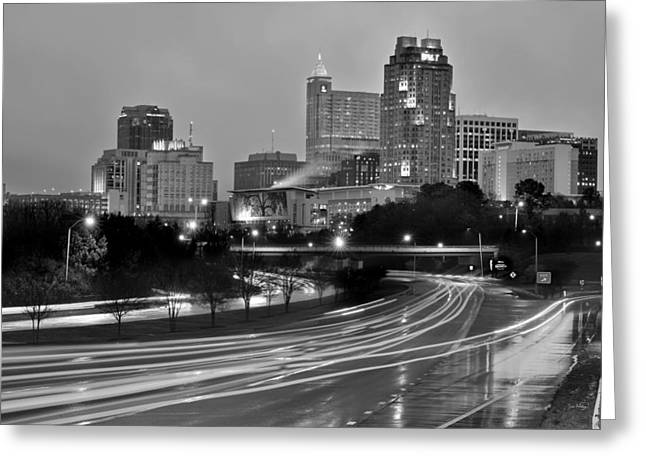 Greeting Card featuring the photograph Raleigh Skyline At Dusk Evening Black And White Bw Evening Panorama North Carolina Nc by Jon Holiday