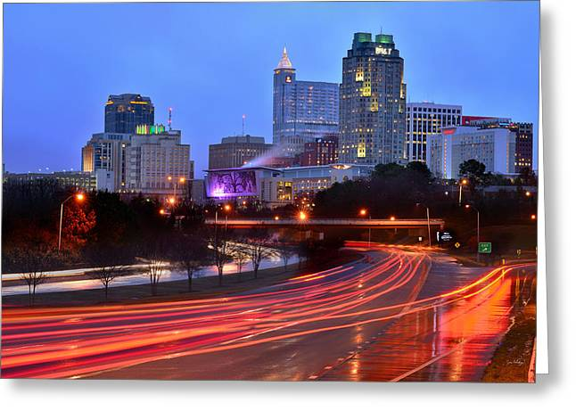 Greeting Card featuring the photograph Raleigh Skyline At Dusk Evening Color Evening Panorama North Carolina Nc by Jon Holiday