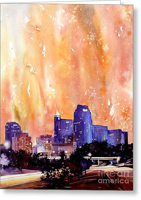Raligh Skyline Sunset Greeting Card