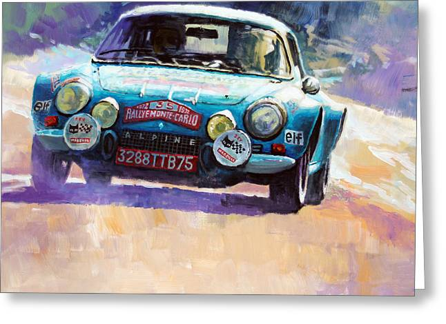 Rally Monte Carlo 1972 Alpine-renault A110 1600  Greeting Card by Yuriy Shevchuk