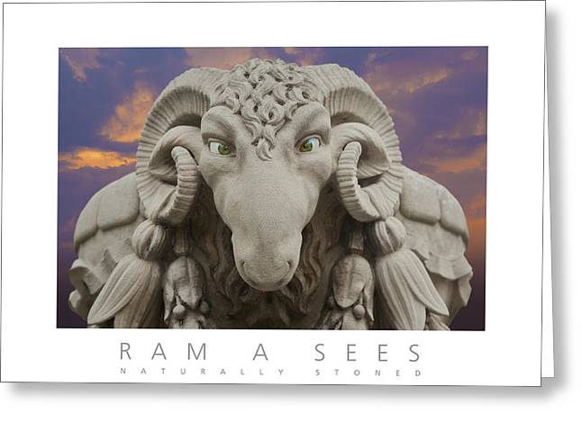 Greeting Card featuring the digital art Ram A Sees Naturally Stoned Poster by David Davies