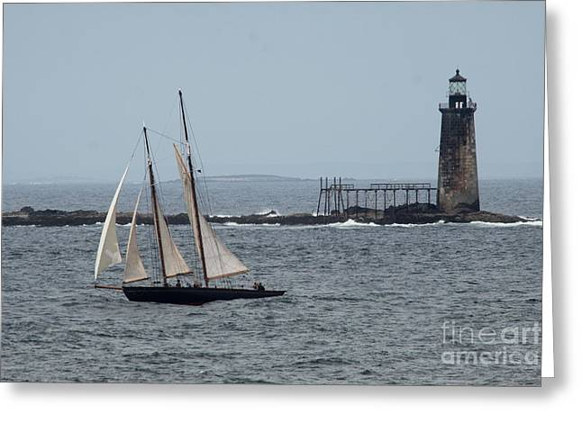 Ram Island Ledge Light And Schooner Greeting Card by Christiane Schulze Art And Photography