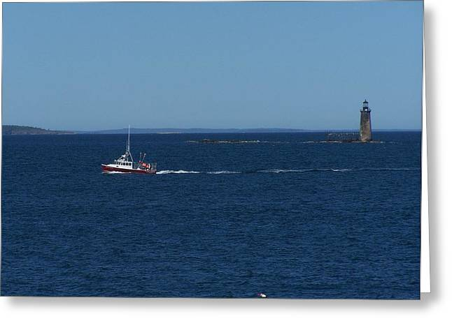 Ram Island Ledge Light Greeting Card by Gene Cyr