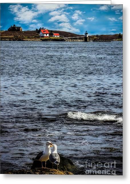 Ram Island Lighthouse Boothbay Greeting Card by Brenda Giasson