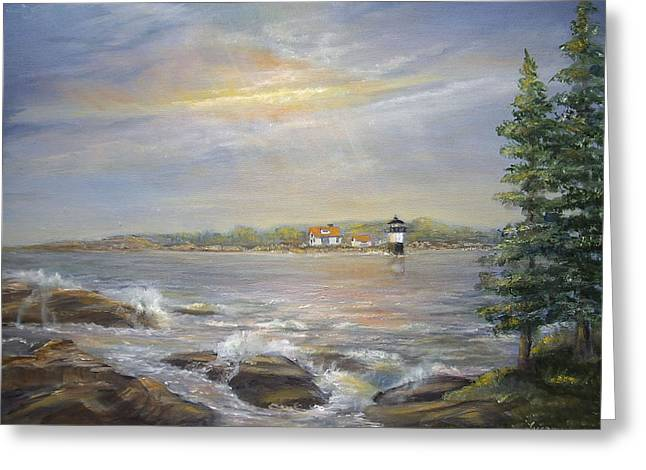 Greeting Card featuring the painting Ram Island Lighthouse Main by Luczay