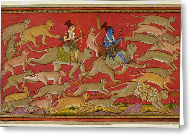 Rama Sets Out With The Monkey Army Greeting Card by British Library