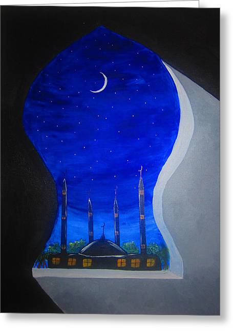 Ramadan Moon Greeting Card by Haleema Nuredeen
