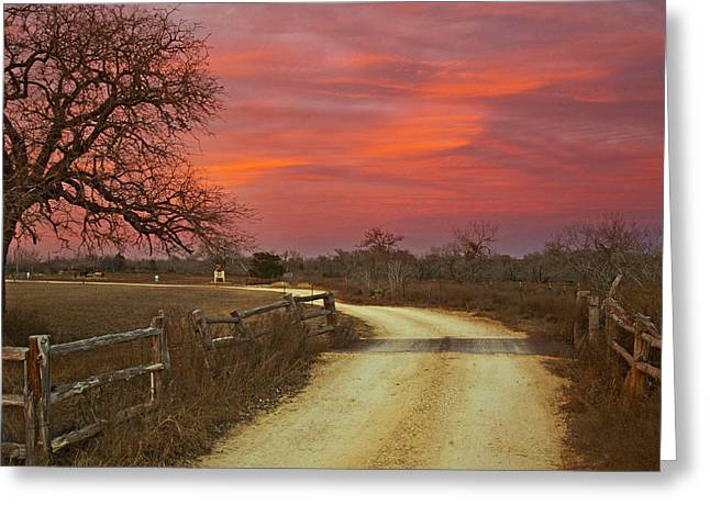 Ranch Under A Blazing Sky Greeting Card by James Granberry