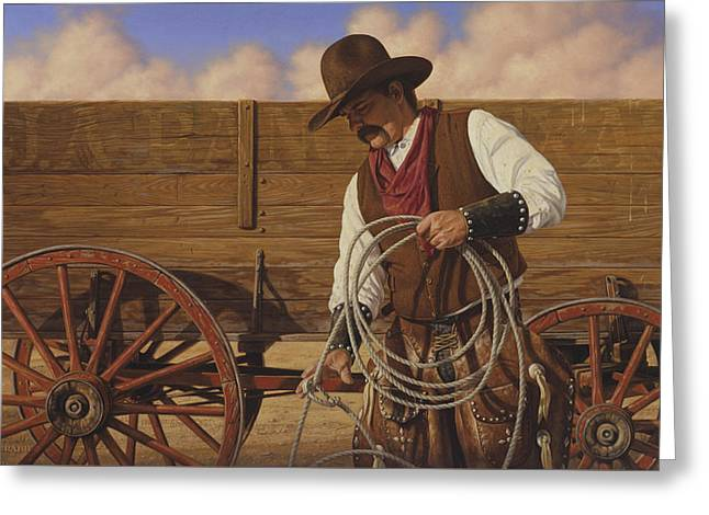 Greeting Card featuring the painting Ranch Wagon by Ron Crabb