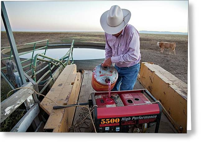 Rancher Filling Generator With Diesel Greeting Card