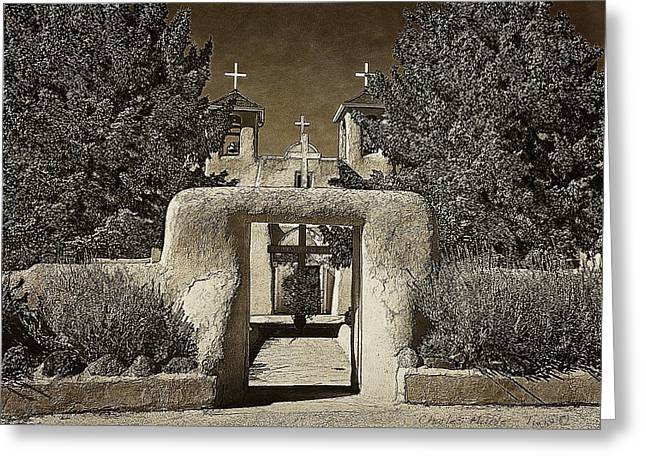 Ranchos Gate On Rice Paper Greeting Card by Charles Muhle