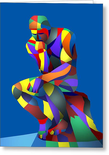 Randy's Rodin Blue Greeting Card