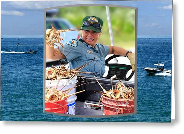 Greeting Card featuring the photograph Ranger In Mini-lobster  Season by R B Harper