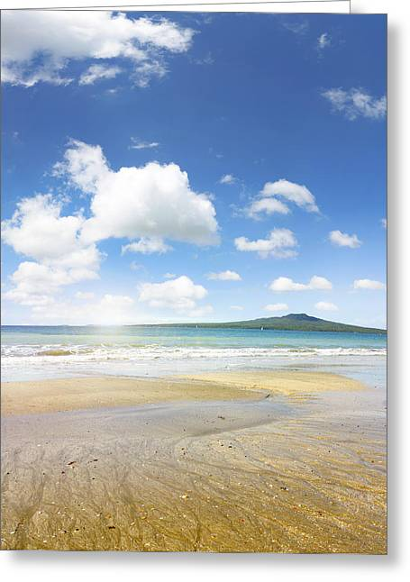 Rangitoto Island Greeting Card by Les Cunliffe