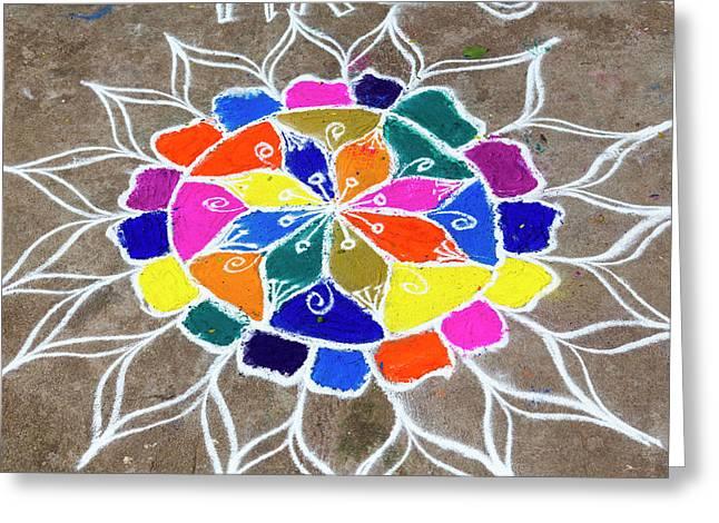 Rangoli Design Or Kollam Or Muggu Greeting Card by Peter Adams