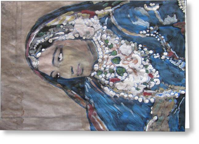 Greeting Card featuring the painting Rani by Vikram Singh
