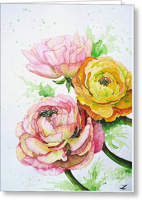 Ranunculus Flowers Greeting Card