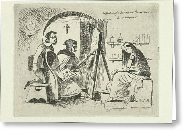 Raphael And Fra Bartolommeo Working On A Self-made Doll Greeting Card