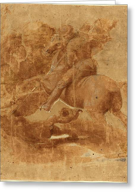 Raphael Italian, 1483 - 1520, Saint George And The Dragon Greeting Card