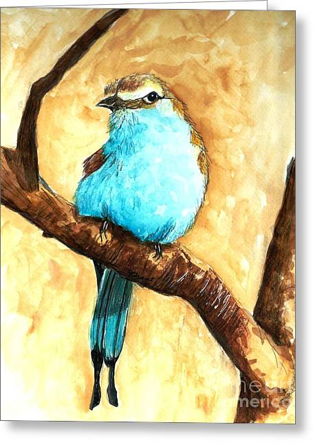 Raquet-tailed Roller Greeting Card by Jeanne Grant
