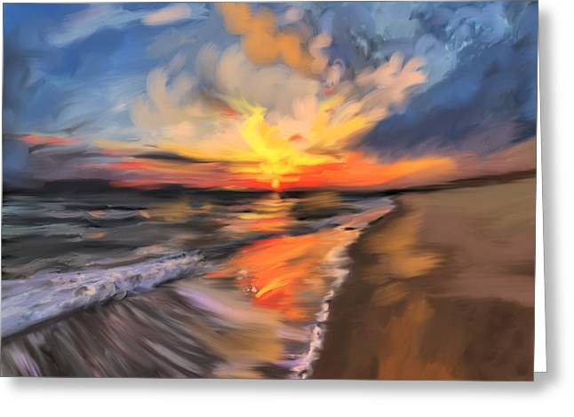 Rare California Sunset Greeting Card by Angela A Stanton