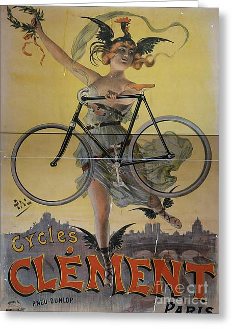 Rare Vintage Paris Cycle Poster Greeting Card by Edward Fielding