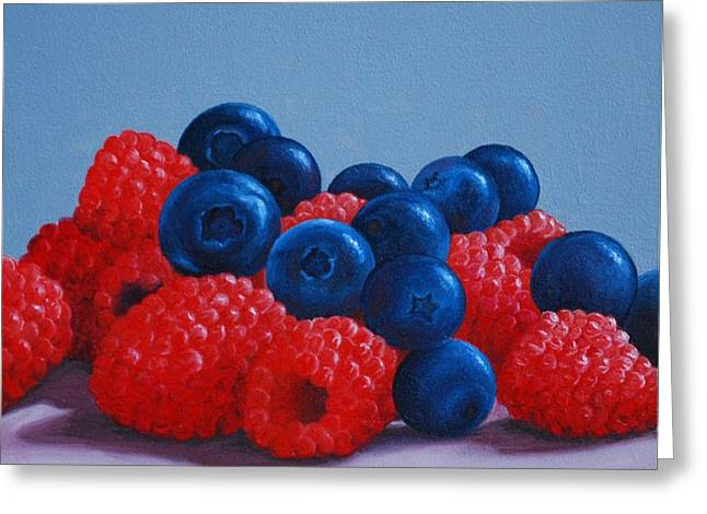 Raspberries And Blueberries Greeting Card