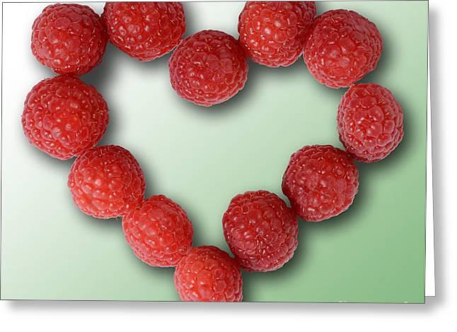 Raspberries, Heart-healthy Fruit Greeting Card by Gwen Shockey