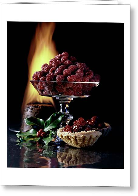 Raspberries In A Glass Serving Dish With Tarts Greeting Card