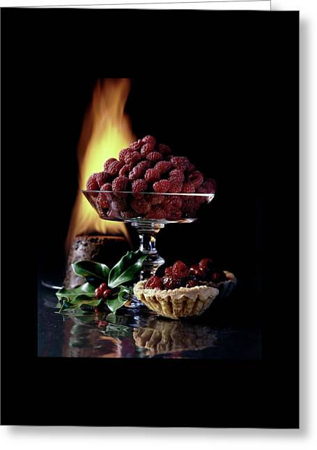 Raspberries In A Glass Serving Dish With Tarts Greeting Card by  Fotiades